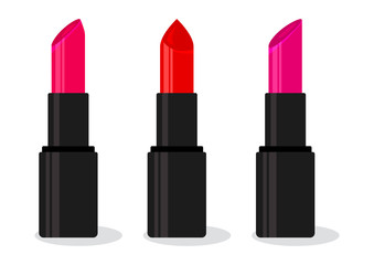Set of colorful lipsticks. Bright pomade with shadow isolated on white background. Vector illustration