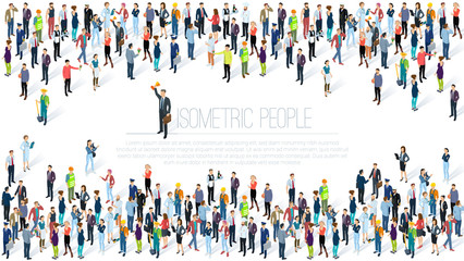 Isometric People crowd. Wall mural