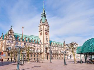 Town Hall in Hamburg city, market square near lake Binnenalster in Altstadt quarter, historical center