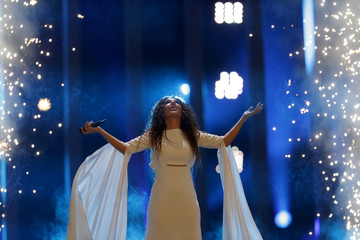 """Greece's Yianna Terzi performs """"Oniro mou"""" during the Semi-Final 1 for Eurovision Song Contest 2018 in Lisbon"""