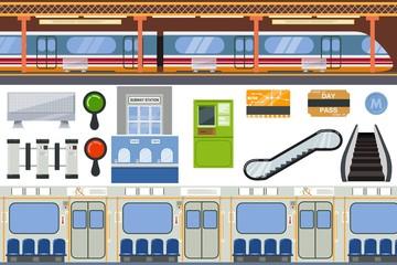 Subway vector metro or underground and urban public transport in tube illustration set of station inside underpass transportation