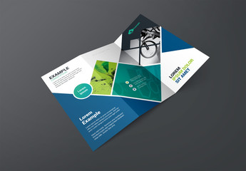 Trifold Business Brochure Layout with Diamond Photo Elements