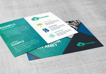 Business Postcard Layout with Diamond Photo Elements