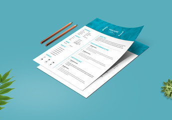 Resume Set with Blue Photo Header
