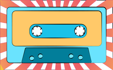 An old blue retro vintage antique hipster music audio cassette for a tape recorder on a background of beams. illustration