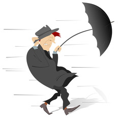 Windy and rainy day and the man isolated illustration. Man walking under the wind and rain trying to keep the hat and umbrella isolated on white