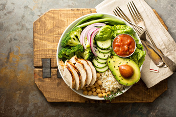 Healthy lunch bowl with grilled chicken