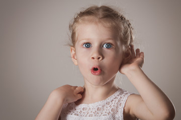 Shocked and surprised little girl