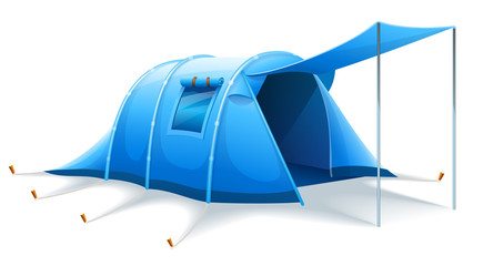 Touristic camping tent for active travel sports. Isolated