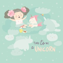 Cute girl with her little unicorn