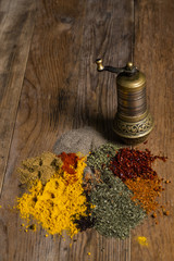 various spices and hand mill