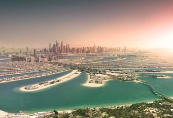 Dubai skyline from Palm Island at sunset
