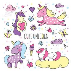 Set of magical items with cute unicorns
