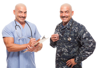 Doctor in scrubs on white background and in navy uniform.