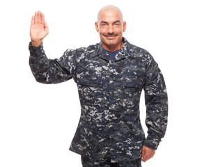 Sailor giving oath while on white background.