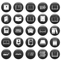 Book icons set. Simple illustration of 25 book vector icons black isolated