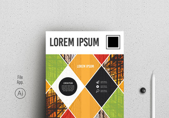 Colorful Business Flyer Layout with Diamond Photo Elements