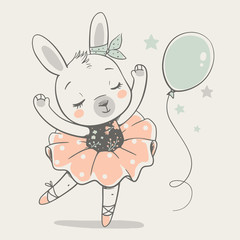 Cute dancing bunny ballerina cartoon hand drawn vector illustration. Can be used for t-shirt print, kids wear fashion design, baby shower celebration greeting and invitation card.