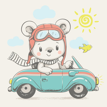 Cute bear driving the car cartoon hand drawn vector illustration. Can be used for t-shirt print, kids wear fashion design, baby shower celebration greeting and invitation card.