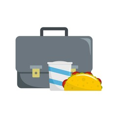 Office lunch icon. Flat illustration of office lunch vector icon for web