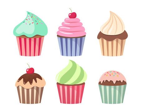 Cartoon cupcake set. Colorful cupcakes cartoons.