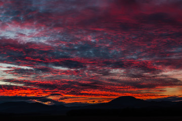 Red Sunset over hills