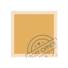 Postage stamp with seal icon. Flat illustration of postage stamp with seal vector icon for web
