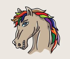 Head Horse Cartoon, art vector illustration design