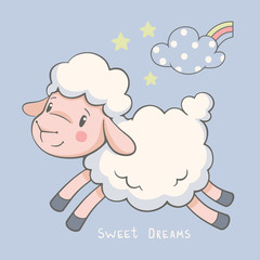 Cute dreaming lamb cartoon hand drawn vector illustration. Can be used for t-shirt print, kids wear fashion design, baby shower celebration, greeting and invitation card.