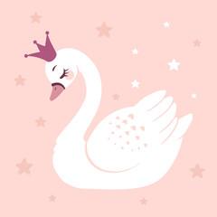Fototapeta premium Śliczna księżniczka łabędź na różowym tle kreskówka ręcznie rysowane ilustracji wektorowych. Może być stosowany do nadruków na koszulkach, projektowania mody dla dzieci, powitania z okazji urodzin baby shower i karty z zaproszeniem.