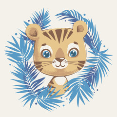 Cute tiger in the jungle cartoon hand drawn vector illustration. Can be used for t-shirt print, kids wear fashion design, baby shower celebration greeting and invitation card.