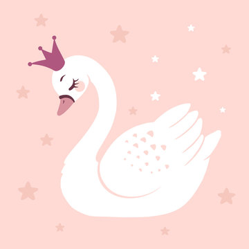 Cute princess swan on pink background cartoon hand drawn vector illustration. Can be used for t-shirt print, kids wear fashion design, baby shower celebration greeting and invitation card.