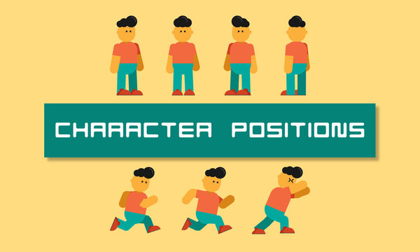 Flat chatacter positions for animation