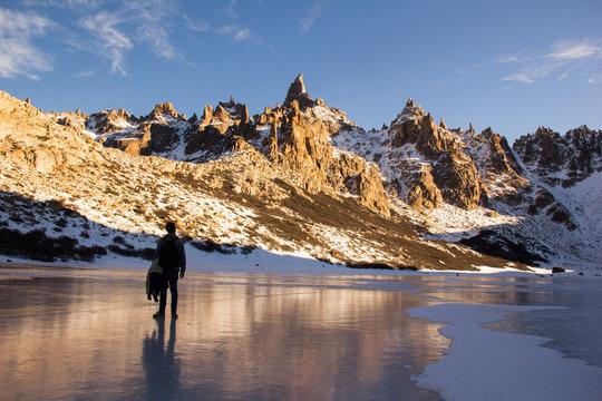 Refugio Frey Hike Mountain and frozen lake; Bariloche - Argentina