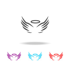 angel wings and halo icon. Elements of angel and demon in multi colored icons. Premium quality graphic design icon. Simple icon for websites, web design, mobile app, info graphics