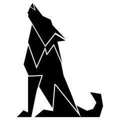 Abstract low poly wolf icon