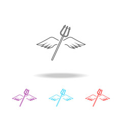 wings and horns lne icon. Elements of angel and demon in multi colored icons. Premium quality graphic design icon. Simple icon for websites, web design, mobile app, info graphics