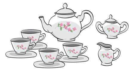 English Tea Set with lilac details