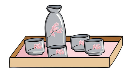 Japanese Sake Set with Cherry Blossoms