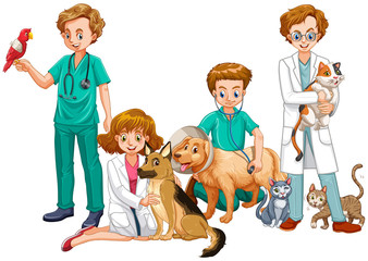 Veterinarian Doctors with Cats and Dogs