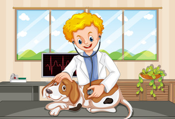 Vet and Dog at Clinic