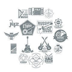 Musical instruments logo icons set, simple style