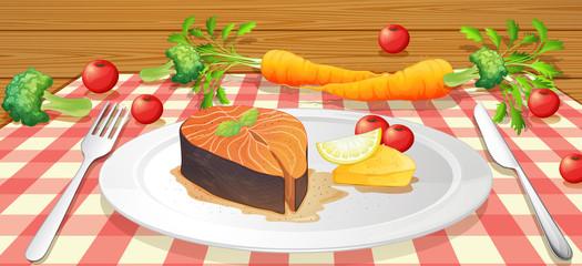 Salmon Stake with Fresh Vegetable