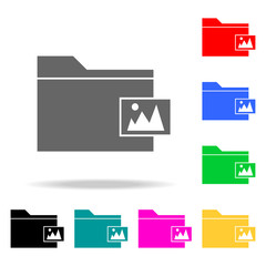 folder with pictures icons. Elements of human web colored icons. Premium quality graphic design icon. Simple icon for websites, web design, mobile app, info graphics
