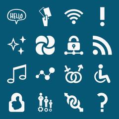 Set of 16 symbols filled icons