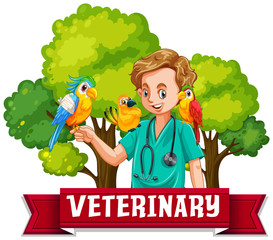 Veterinary Banner with Colourful Bird