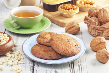 Handmade chocolate cookies on wooden table