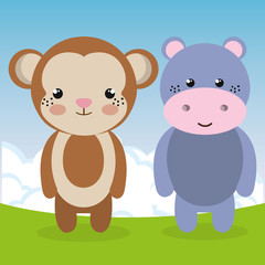 cute monkey and hippo in the field landscape characters vector illustration