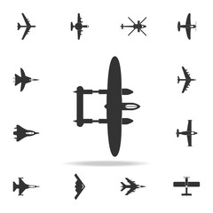 bombardment lockheed plane icon. Detailed set of army plane icons. Premium graphic design. One of the collection icons for websites, web design, mobile app