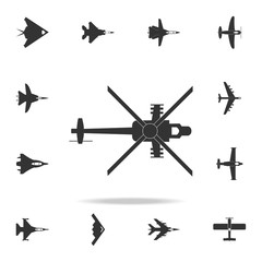 Military helicopter silhouette icon. Detailed set of army plane icons. Premium graphic design. One of the collection icons for websites, web design, mobile app